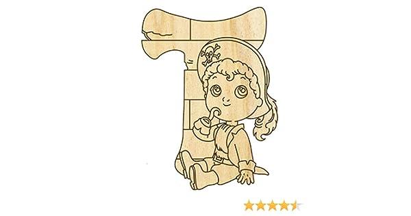 10cm H/öhe Buchstabentiere Holzbuchstaben Farbklecks Collection Holzbuchstabe Pirat T Holz-Buchstabe
