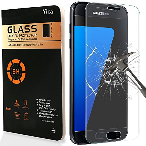 Galaxy S7 Screen Protector,Yica Tempered Glass Screen Protector Ultra HD Clear Anti-Scratch Curved Edge [Full Coverage] for Samsung Galaxy S7