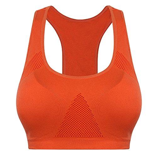 Bluelover Yoga Running Sport Push Up Bh Tank Shirt Underdraht Kleidung Schnell Trocken-Orange-L