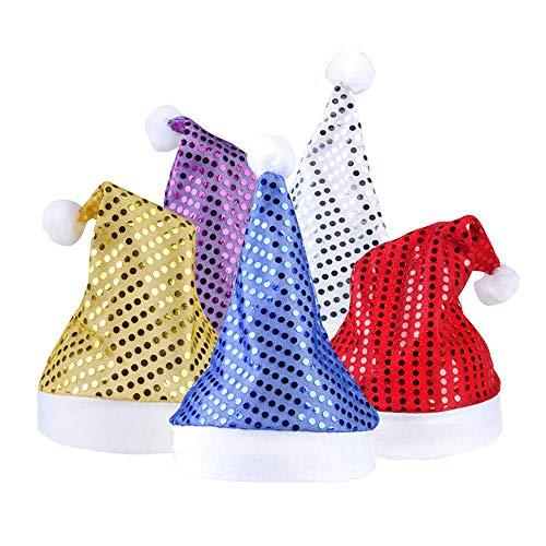 MansWill 5 Pack Pailletten Weihnachtsmützen, Weihnachtsmann Bling Paillette Weihnachten Caps / Urlaubsparty glitzernden Sparkle Santa Kostüm für Kinder ()