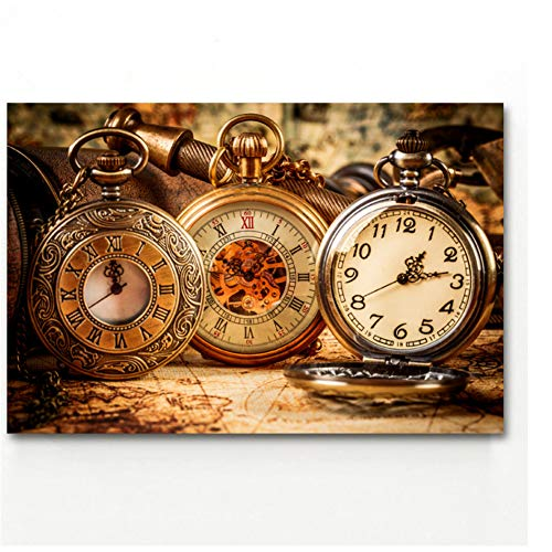 wzgsffs Wall Art Picture Wristwatch Retro Map Vintage Posters And Prints Canvas Art Paintings for Home Decor Print on Canvas -60x90cm No Frame
