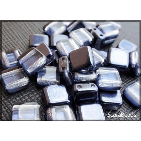 40 pz Tile Beads - Ceco piazza perline di vetro con due fori, rivestimento perla da un lato, Blue-Grey - Veneziana Seed