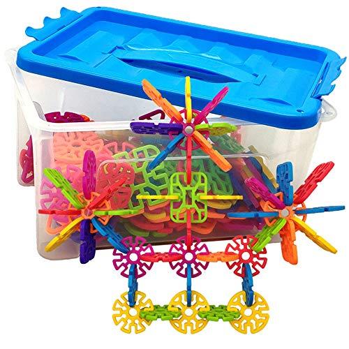 Bausteine Konstruktion Blöcke 100 Stücke Kunststoff Disc Set Builder Spielzeug mit 2 Größen Aufbewahrungsbox für Kinder und Kleinkinder über 3 Jahre alt ( Color : Multi-colored , Size : 20*15*11CM ) -