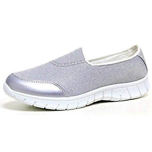 Damen Flexi Surf Komfort Turnschuhe Freizeit Walk Pumps Sportschuhe Holiday Go Schuh Größe 4-8 Silber