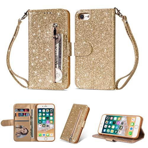 Yobby Glitzer Brieftasche Hülle für iPhone 6, iPhone 6S Schwarz Handyhülle Bling Slim Reißverschluss Leder Schutzhülle Flipcase [Stand-Funktion] mit Kartenfach und Handschlaufe