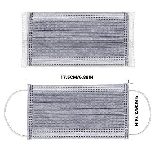 BSMEAN 50 piezas mascarillas desechables de cuatro capas filtro de carbón activado máscaras de filtro de polvo transpirable máscaras de cubierta bucal con lazo elástico
