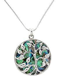 PYNK Jewellery Halskette mit Anhänger Abalone-Paua-Muschel grün Baum des Lebens
