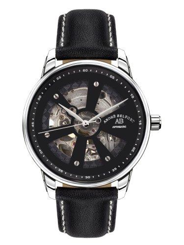André Belfort 410170 - Reloj analógico de caballero automático con correa de piel negra - sumergible a 50 metros