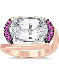 Silvernshine 4Ct Oval & Round Cut SimPink Sapphire Diamond 18K Rose Gold Plated Engagement Ring