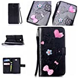 Sony Xperia M2 / M2 Case Leather, Ecoway 3D Fashion Handmade Bling Diamond Crystal Butterfly flower pattern PU Leather Stand Function Protective Cases Covers with Card Slot Holder Wallet Book Design Detachable Hand Strap for Sony Xperia M2 / M2 - black