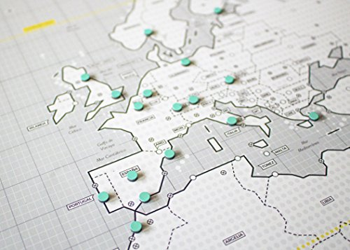 Mapnético Mapa del mundo magnético de diseño con imanes. Señala tus viajes por el mundo. 121×60 cm