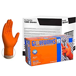 AMMEX - GWOR46104E0 - Case of 1000 - Large, 8 mil, Heavy Duty Orange Disposable Nitrile Gloves - GLOVEWORKS HD - Industrial Grade, Powder Free, Latex Free