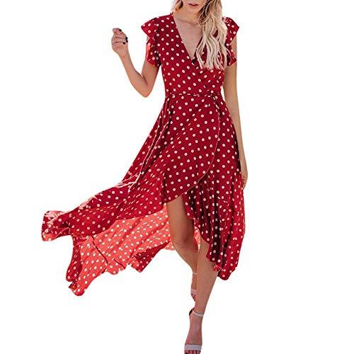 VJGOAL Damen Sexy Kleider, Damen Sexy Kleider Mode Partykleid Punkte Boho Miniklei Dame Abendkleid Strand Sommer Sommerkleid Maxi Kleid(Rot,34)