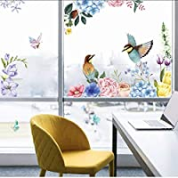 Fagreters Ink Painting Flowers and Birds Wall Sticker Living Room for Home Interior Decoration Decals Wallpaper Inkjet Glass Stickers