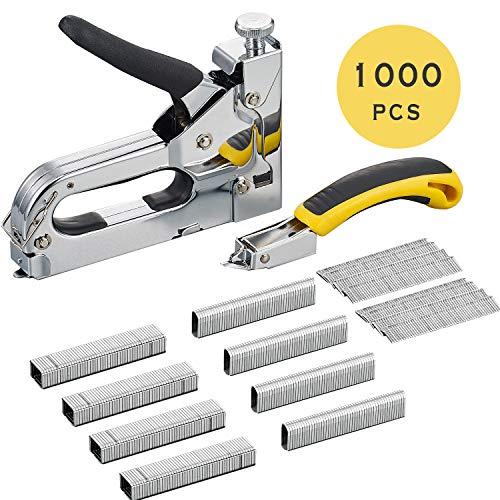 AECCN Handtacker mit Klammernentferner - 3 in 1Tacker Kit mit 1000 Klammern für Befestigungsmaterial, Dekoration, Zimmerei, Möbel, Türen und Fenster