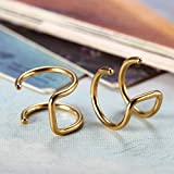 Flongo Edelstahl Ohrringe Ohrstecker Ohrclip Ohrklemme Non Piercing Fake Captive Ring Ohrpiercing Helix Cartilage Knorpel Piercing Gold Golden Herren, Damen Test
