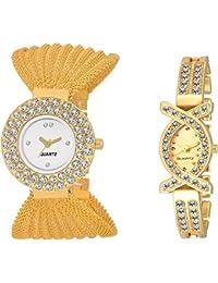 Swadesi Stuff Diamond Studded Exclusive Gold Color Analog Watch Combo Of 2 For Girls & Women