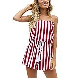 ESAILQ Jumpsuits Damen Kurz Sommer Strand Spielanzug Einteiler Overalls Hose Elegant Playsuit V-Ausschnitt Elastisch Hohe Taillen Casual(S,Rot)