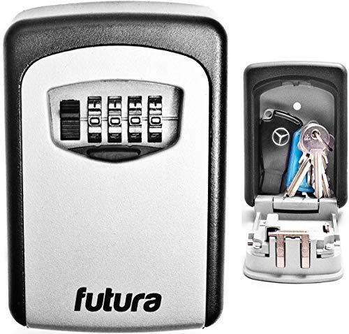 Futura Schlüsseltresor für Wandmontage - für den Außenbereich - extrem stabil - 4-stelliger Zahlencode - zur sicheren Schlüsselaufbewahrung zuhause & im Büro - Sicherheitsgehäuse aus Stahl
