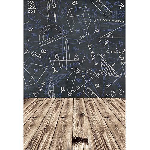 YongFoto 2x3m Vinyl zurück zur Schule Foto Hintergrund Mathematischer Kalkül Klassenzimmer Tafel Holzboden Fotografie Hintergrund Kinder Fotostudio Hintergründe Requisiten (Kalkül 3)