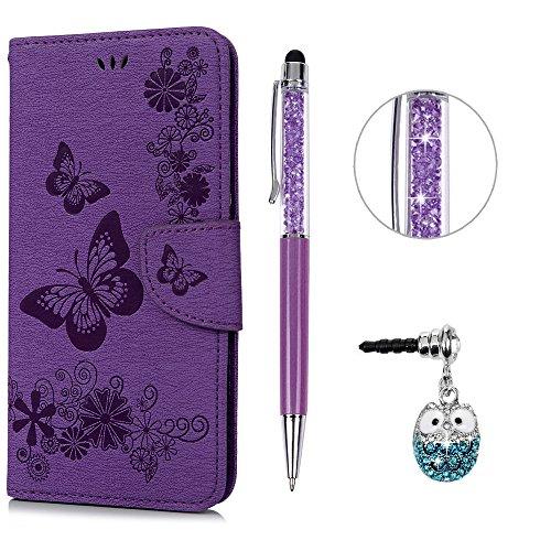 e Leder Case,KASOS iPhone 6 Plus Handyhülle Brieftasche Book Type PU Leder +TPU Innere Tasche Bunt Gemalt Magnetverschluss Ledertasche Cover,Lila + Touch Pen + Stöpsel Staubschutz ()