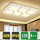 HG 48W Schlafzimmerleuchte LED Deckenlampe Warmweiss IP44 Modern Rechteckig Wohnzimmer Wandleuchte Led Beleuchtung Weiß Esszimmer Lampen Küchenlampe[Energieklasse A++]