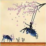 HAJKSDS Rosa Blume Baum Mädchen Schaukel Wandaufkleber Wohnkultur Kleber Kinderzimmer Wand Stikers Cartoon Tiere Kinderzimmer Wandtattoos