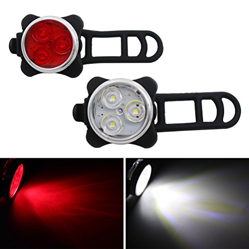 Xcellent Global Set LED Fahrrad Lichter Aufladbar Vorderes Und Hinteres Fahrrad-Licht, 4 Lichtmodus Optionen, 2 USB Kabel Inbegriffen, Rotes und Weißes Licht LD132