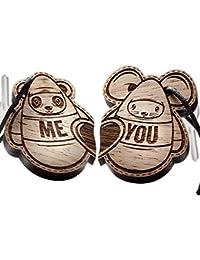 """Schlüsselanhänger Set aus Holz, Panda und Maus mit Gravur """"You + Me!"""""""