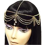Head Jewelry ~Goldtone Crystal W Draped Tassels Head Chain Headband (IHC1030-GLD)