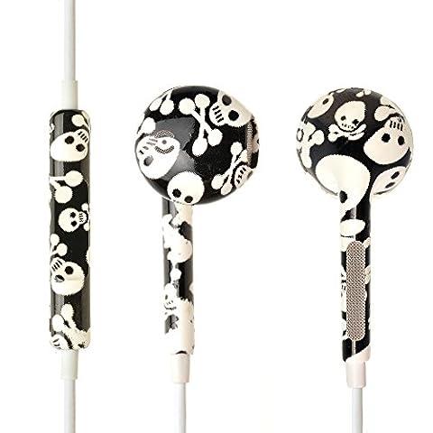 iProtect® Écouteurs intra-auriculaires stéréo pour tous les modèles comme Sony, Samsung, LG, Huawei, HTC, etc. motif tête de mort en blanc/noir - design original et qualité premium