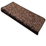 casa pura Stufenmatten Uni Nougat   Qualitätsprodukt aus Deutschland   Gut Siegel   Kombinierbar mit Läufer   65x23,5 cm   rechteckig   15er Set