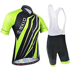 BXIO Maglia Ciclismo Uomo Manica Corta, Abbigliamento Sportivo da Ciclismo con Pantaloni Ciclismo Salopette Asciugatura Rapida per MTB Ciclista, Motivo a Righe, Verde con Nero
