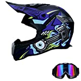 Anderseb Casco de Motocross de Cara Completa Gafas de Visera, Casco de Bicicleta All Mountain Bike DH MTB Casco de Bajada de Carretera,L58`59CM
