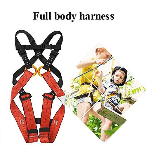 Imbracatura Cintura Di Sicurezza Adatto Per Bambini Da 4 A 10 Anni, Adatto Per Arrampicata Su Roccia, Parco Divertimenti, Avventura, Sci, Cintura - Arancio