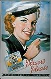 Blechschild Players Zigaretten Frau Schiff Cigarettes Schild Retro Werbung Zigarettenwerbung Nostalgieschild