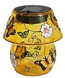 Solar Tischleuchte Butterfly in dekorativer Tiffany Optik
