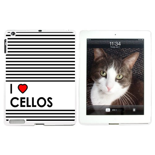 I love Herz Celli–Snap on Hard Schutzhülle für Apple iPad 234–Weiß