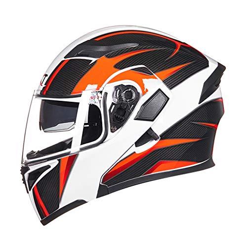 OUTO Casque de Moto Four Seasons Full-Cover Personality Casque intégral Anti-buée Casque de Moto d'été (Color : White Orange Carbon Lead Color)