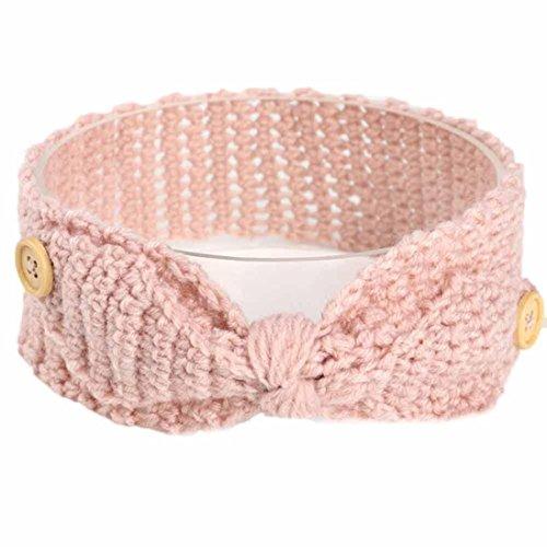 KanLin Baby Keep Warm Button Knitting Infant Kids Girl Hairband Phtography Props (Khaki)