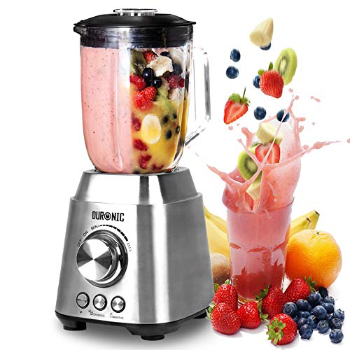 51Z5%2BojMgfL. SS500  - Duronic BL102 Smoothie Blender 1000W 1.5L Glass Jug Table Blender | Stainless Steel | Ninja Sharp Blades