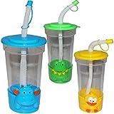Unbekannt Trinkbecher / Trinkflasche -  lustige Tiere  - mit Strohhalm & Deckel - 400 ml / 0,4 Liter - Becher / Sommerglas - Trinklernbecher - Plastikbecher - Trinkha..