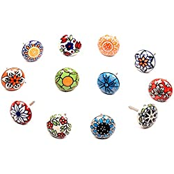 Lot de boutons de tiroir en céramique multicolore, Set of 12