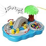 Drehende Magnetischer Angelspiel Mit Leichter Musik Entenangeln Spielzeug für Kinder 3 Jahre alt und Up