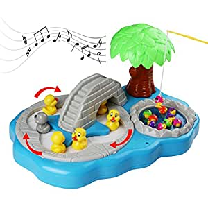 Music magnetic fishing toy ducks fishing game hook a duck for Fishing games for girls
