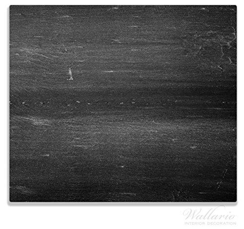 Wallario Herdabdeckplatte / Spitzschutz aus Glas, 1-teilig, 60x52cm, für Ceran- und Induktionsherde, Dunkler schwarzer Stein - Muster - Steinoptik