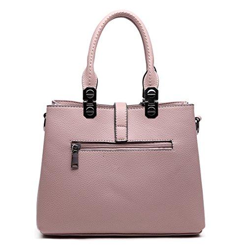 Miss LuLu Handtasche Damen Umhängetasche Aktentasche PU Leder Elegant für Frauen E1751-Beige