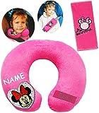 alles-meine.de GmbH 2 TLG. Set _ Nackenkissen / Nackenrolle & Gurtpolster __  Disney Minnie Mouse  - incl. Name - Kissen für Auto / Gurtschoner - Kindersitz - Reisekissen / Rei..