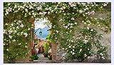 BHXINGMU Benutzerdefinierte 3D Wallpaper Murals Rose Blume Reben Holztür Zement Wand Retro Nostalgie Wohnzimmer Restaurant Hintergrund Dekor Wandbild 240Cm(H)×330Cm(W)