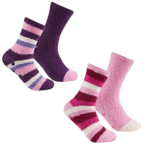 4 Pairs Of Ladies Stripes Cosy Slipper Socks, Soft Fluffy Soft Socks Gift, B98 By Daisy Dreamer®